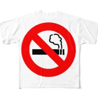 禁煙マーク入り Full graphic T-shirts