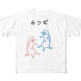 ネコゼ  アオネコの日常 Full graphic T-shirts