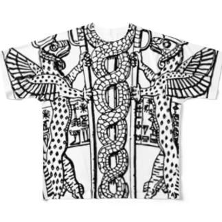 シュメール文明で用いられた2匹の蛇が絡み合うシンボル Full graphic T-shirts