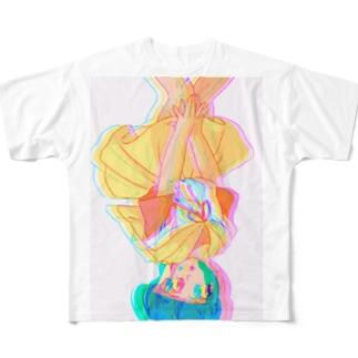 逆さ女の子 Full graphic T-shirts