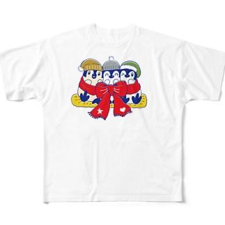るりんごむのりぼんぺんぎん Full graphic T-shirts