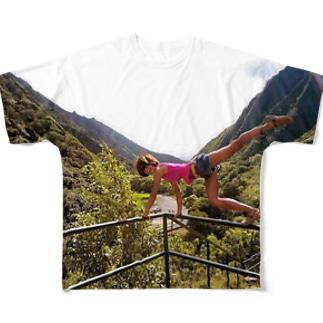 ヨガ 谷のポーズ Full graphic T-shirts