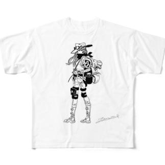 旅ガール(モノクロ) Full graphic T-shirts