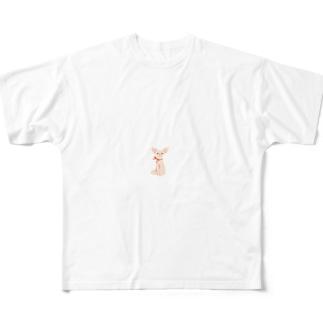 リボンを巻いたチワワ Full graphic T-shirts