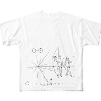 パイオニア探査機の金属板 Full graphic T-shirts