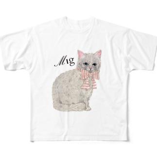 ミニョンヌさんちのにゃんこ Full graphic T-shirts