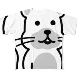 何食べようか考えてるリスくん(モノクロ・線)  Full graphic T-shirts