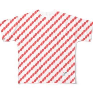くりぷ豚 ピンクストライプ Full graphic T-shirts