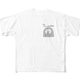 ななけもの もう眠いですのポーズ Full graphic T-shirts