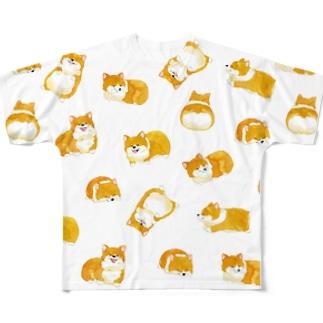 コーギー君Tシャツ(白) Full graphic T-shirts