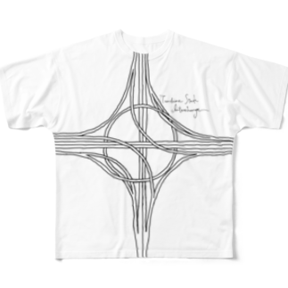 Rakushigeショップのハーフタービン型インターチェンジ Full graphic T-shirts