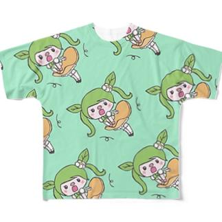 スカートかぜにひらひら♪ぶーちゃ、えめらるど Full graphic T-shirts