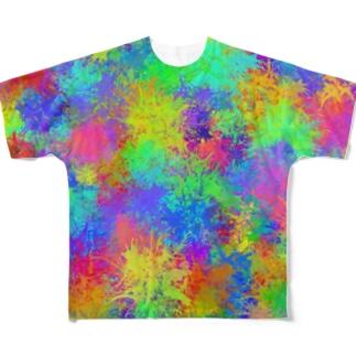 カラフルインク垂らし柄 Full graphic T-shirts