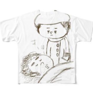 寝てる夫 Full graphic T-shirts