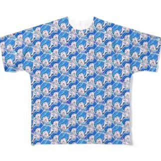 ワサグラ アオ Full graphic T-shirts