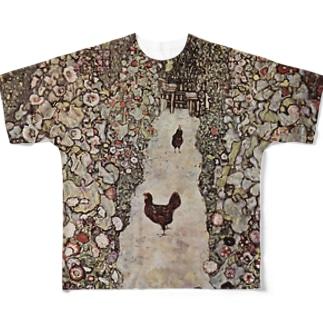 クリムト1917 鶏のいる庭の小道 Full graphic T-shirts