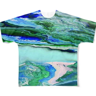 Blue Earth 地球 Full graphic T-shirts