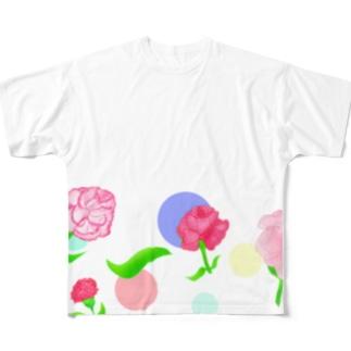 カーネーションと水玉模様② Full graphic T-shirts