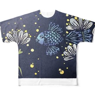 切り絵金魚(カラーver.) Full graphic T-shirts