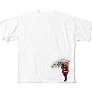 傘をさして歩こう Full graphic T-shirts