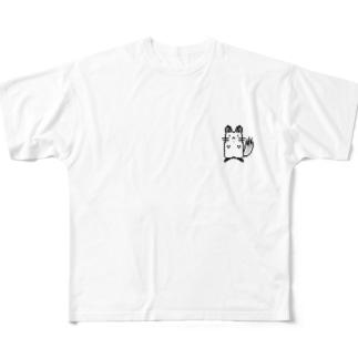 チンチラドット絵(ワンポイント) Full graphic T-shirts