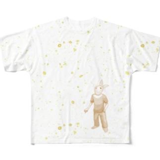 宇宙とウサギ Full graphic T-shirts