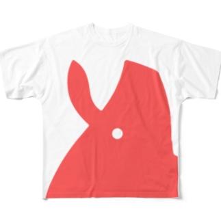 くりぷ豚 デカピンクアイコン Full graphic T-shirts