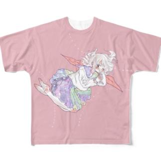 おひるねピンクセーラーちゃん(PINK) Full graphic T-shirts