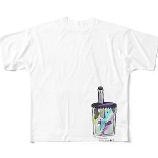 牛乳ビンのマモノ(タピオカ) Full graphic T-shirts