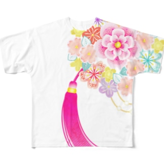 花かんざし02 Full graphic T-shirts