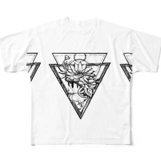 タトゥー風 花 Full graphic T-shirts