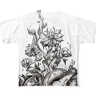 心臓 花  Full graphic T-shirts