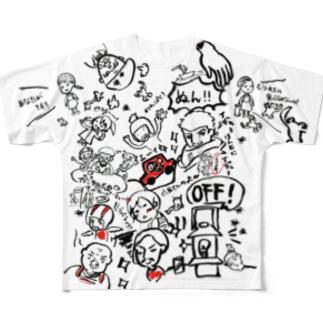 野水伊織 作『ぞくちょむと愉快な仲間達』 (白)  Full graphic T-shirts
