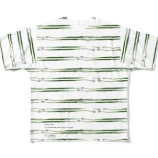 九条ネギ ボーダーTシャツ Full graphic T-shirts
