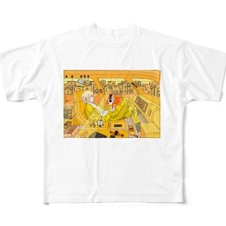 朝ぼらけ通勤道中 Full graphic T-shirts