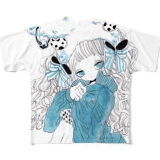 水縹ジャージ Full graphic T-shirts