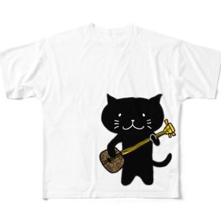 くろねこ沖縄三味線 Full graphic T-shirts