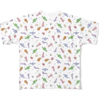 恐竜と食べ物 Full graphic T-shirts