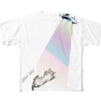 MEOW GALAXYのhelp me Full graphic T-shirts