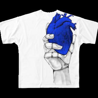 nemuriのHeart オテテ Full graphic T-shirts