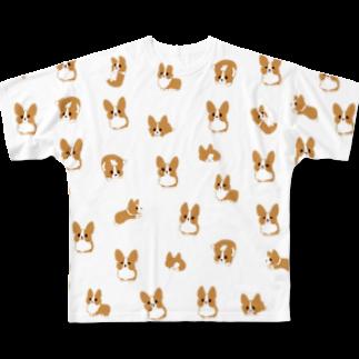 びすけのコーギーがたくさん Full graphic T-shirts