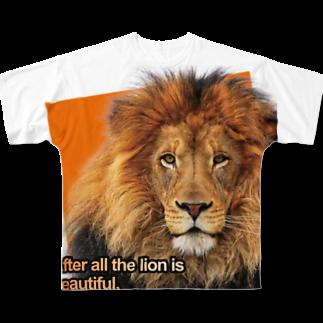 キャッツハンド:suzuriショップのやっぱりライオンはきれい! Full graphic T-shirts