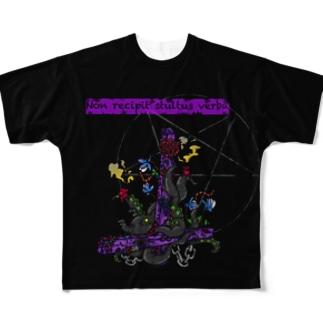 棄てられた信仰心(ブラック) Full graphic T-shirts