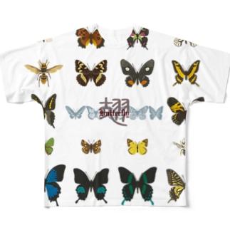 バタフライ Full graphic T-shirts