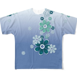 おはな_blue Full graphic T-shirts