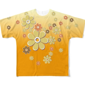 おはな_orange Full graphic T-shirts