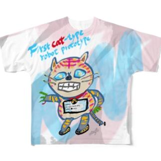 フルB【First cat-type robot prototype】 Full graphic T-shirts