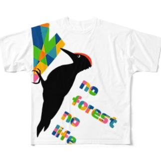 クマゲラ★キツツキ Full graphic T-shirts