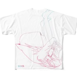 就活ちゃん-グラデーションver Full graphic T-shirts