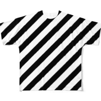 VIOFRANME SLASH STRIPES FULL SIZE FIT PRINT ZONE Full graphic T-shirts